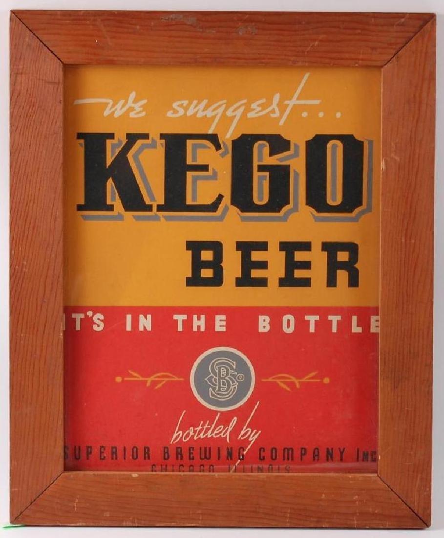 Vintage Kego Beer Framed Cardboard Advertising Sign
