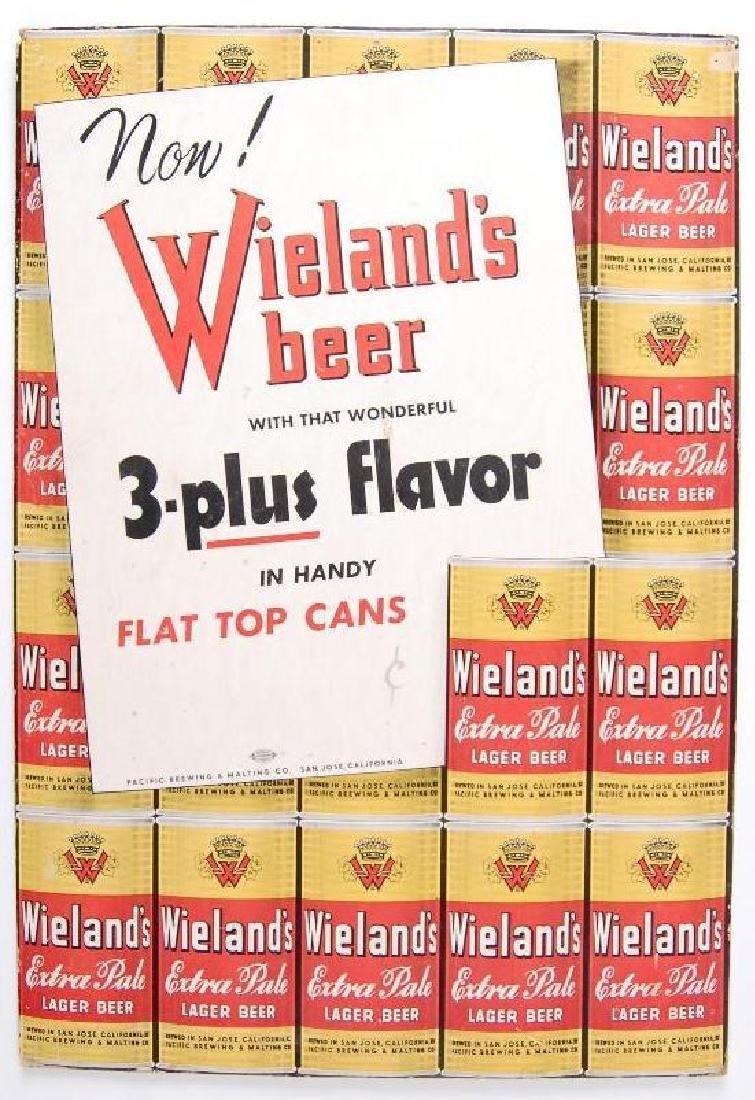 Vintage Wieland's Beer Cardboard Advertising Sign