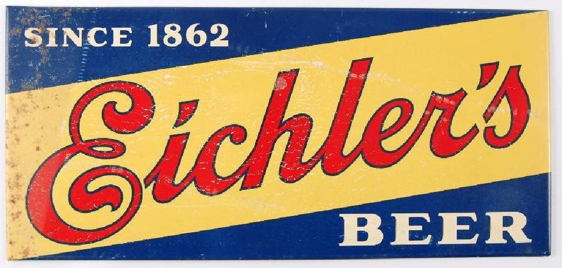 Vintage Eichler's Tin on Cardboard Advertising Beer