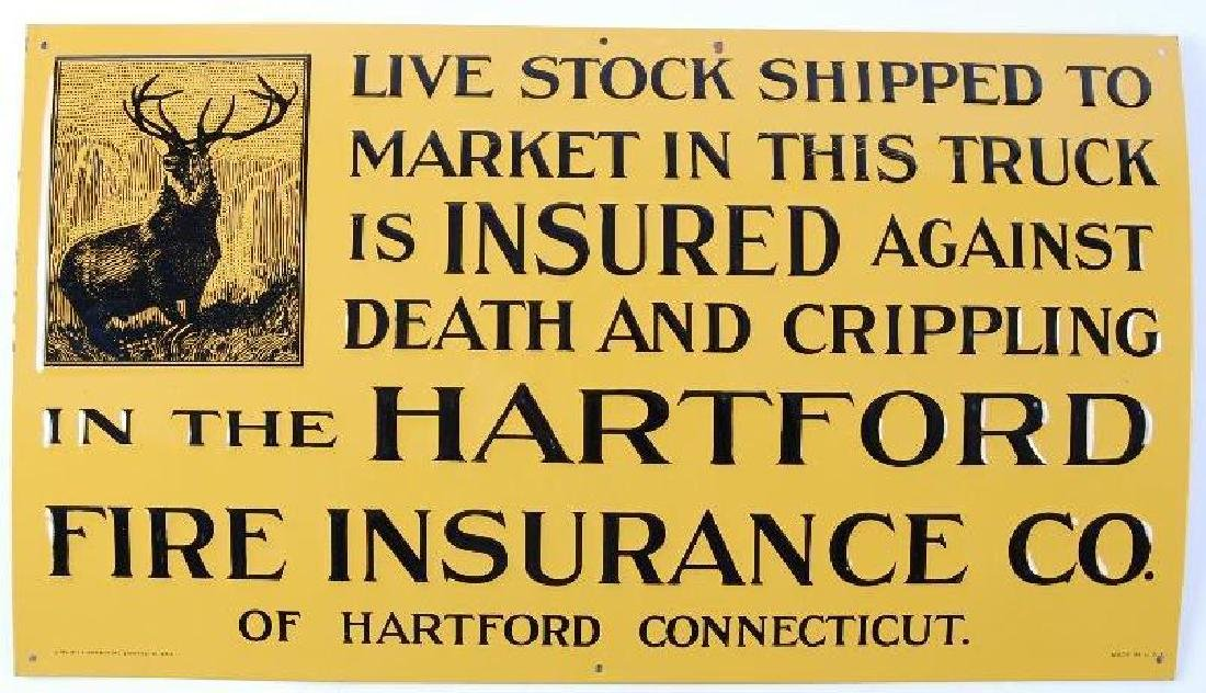 Vintage Hartford Insurance Advertising Metal Sign