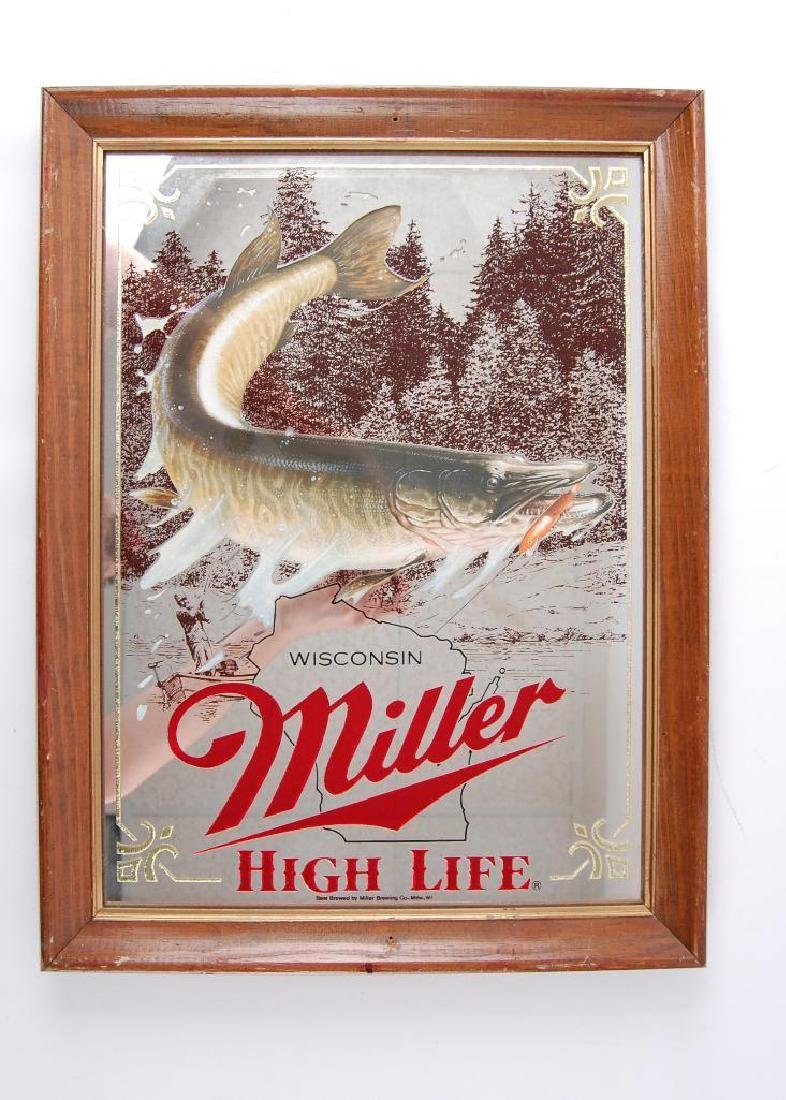 Vintage Miller High Life Muskie Advertising Beer Mirror