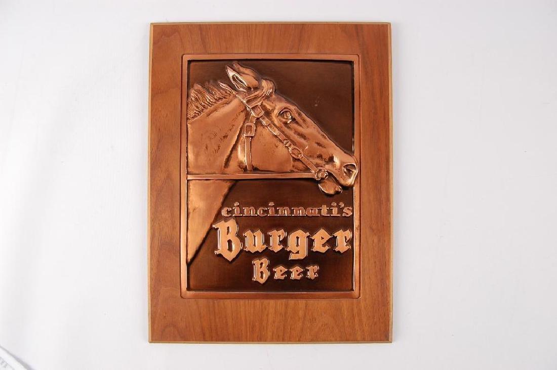 Vintage Cincinnati's Burger Beer Advertising Copper