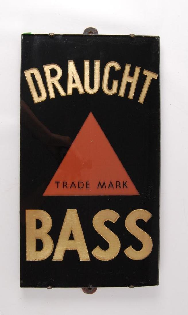 "Vintage Bass ""Draught"" Reverse Painted Advertising"