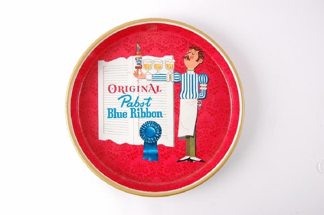 Vintage Pabst Blue Ribbon Advertising Metal Beer Tray