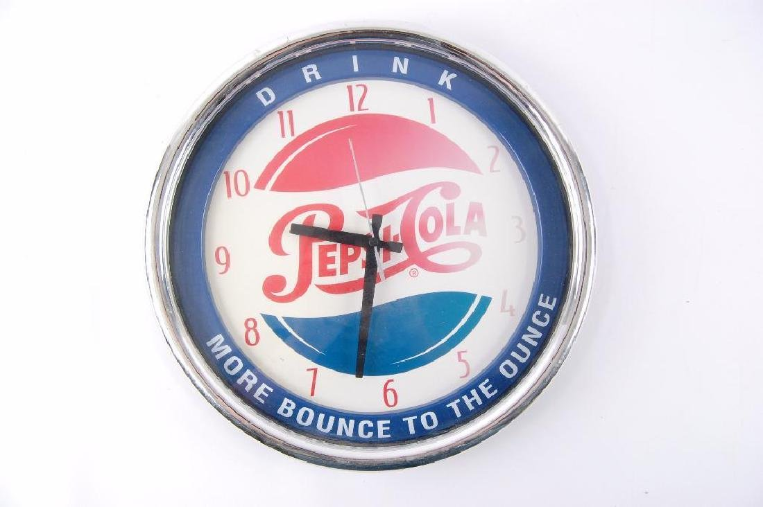 """Pepsi """"More Bounce to the Ounce"""" Advertising Clock"""
