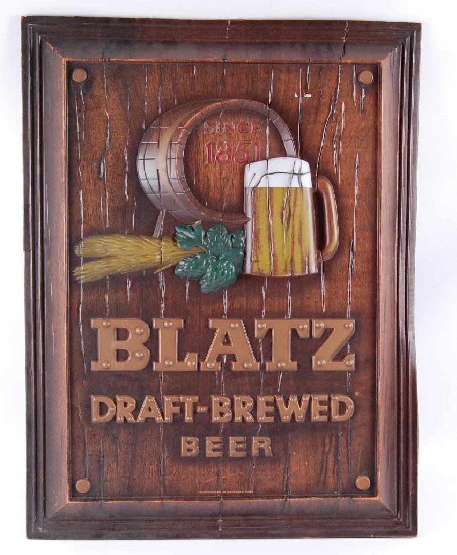 "Vintage Blatz ""Draft Brewed"" Advertising Beer Sign"