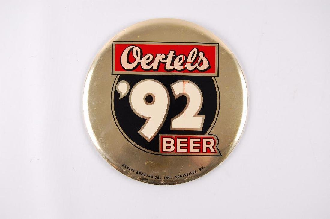 Vintage Oertels '92 Beer Tin On Cardboard Advertising