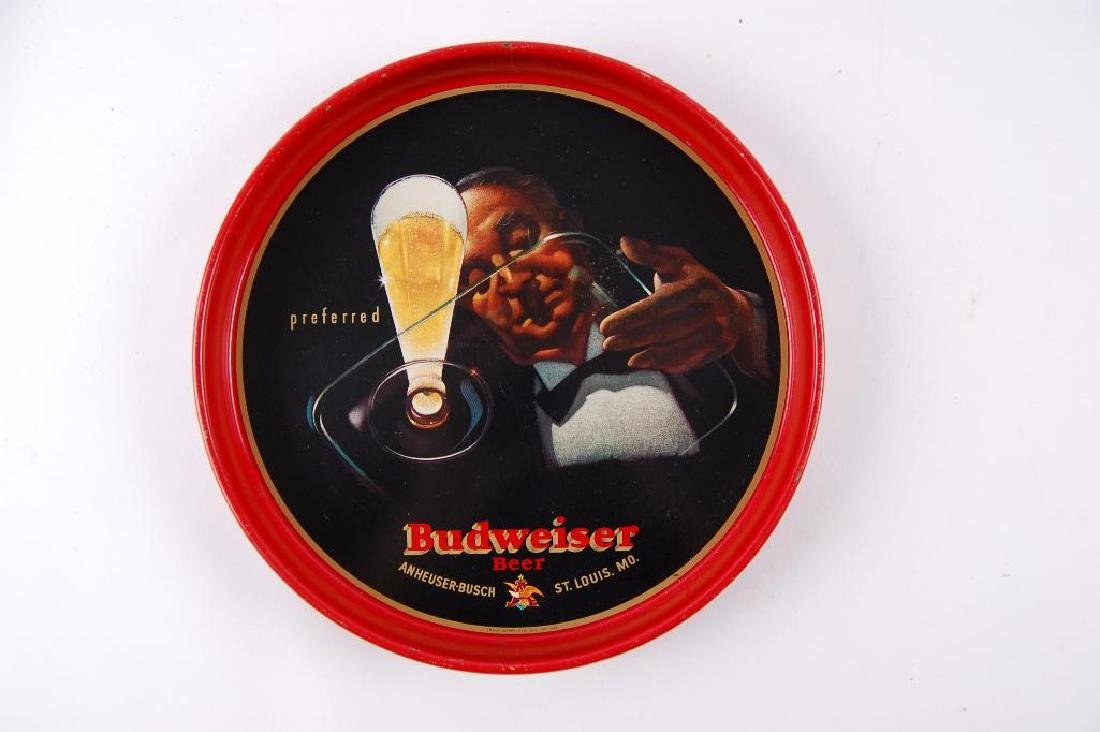 Vintage Budweiser Advertising Metal Beer Tray