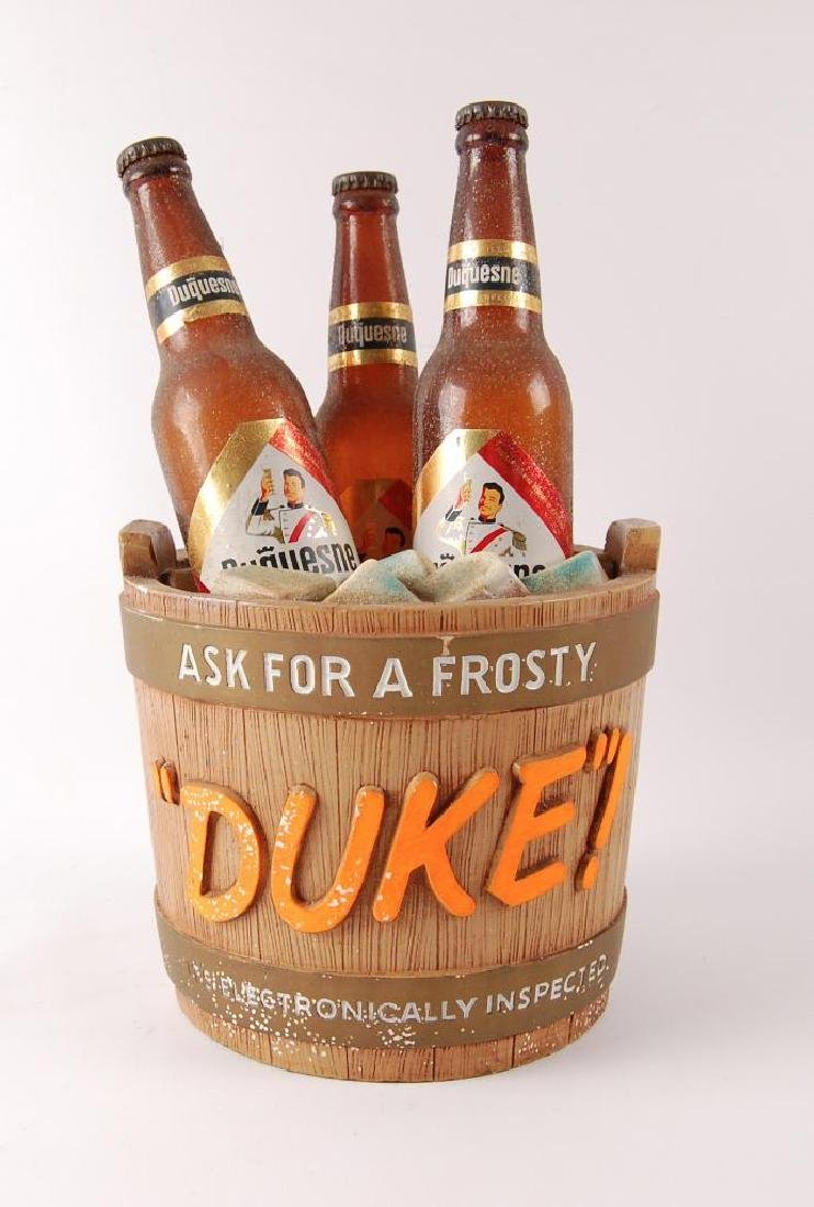 Vintage Duke! Advertising Chalk Bucket Statue with 3