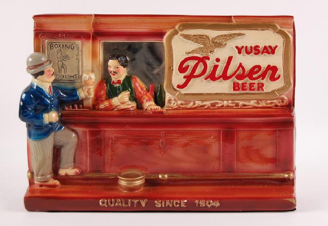 Vintage Yusay Pilsen Beer Advertising Chalk Bar Scene