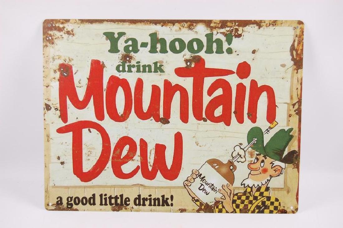 """Modern Mountain Dew """"Yahooh!"""" Advertising Metal Sign"""