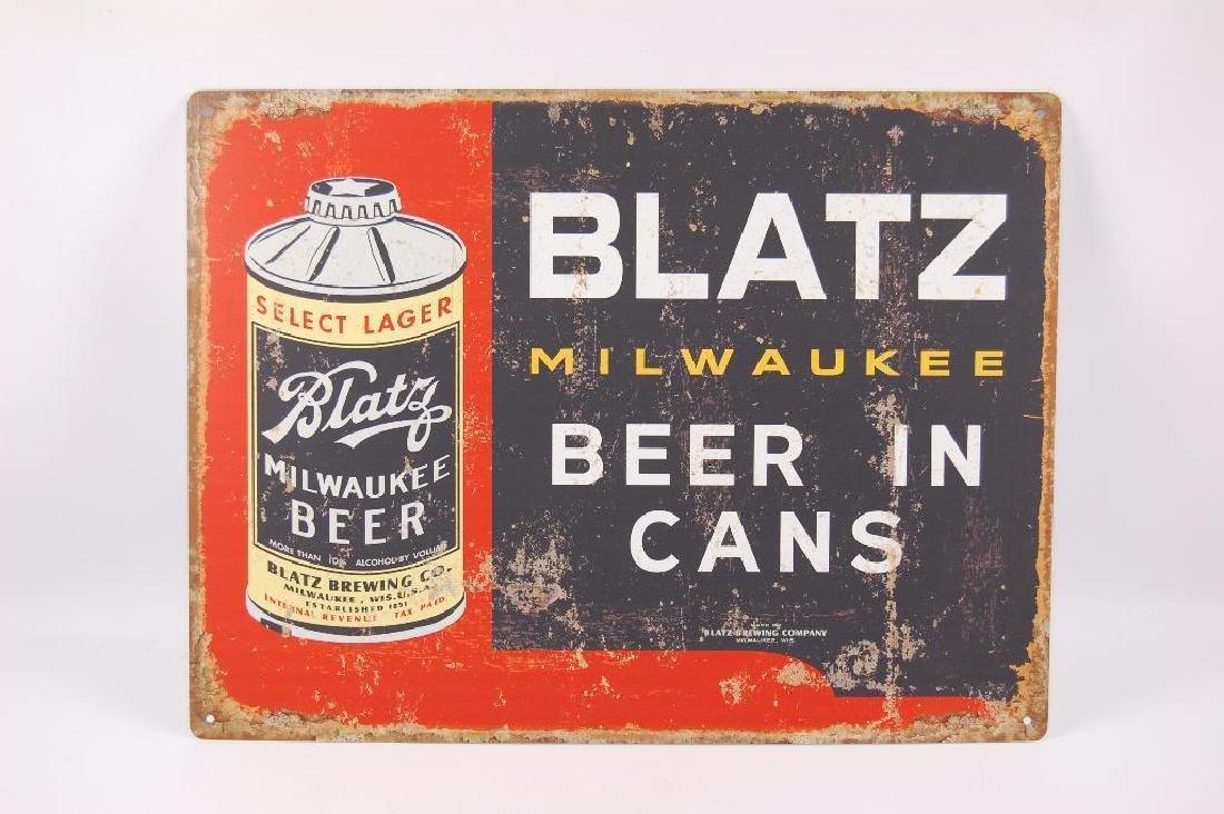 Modern Blatz Advertising Metal Beer Sign