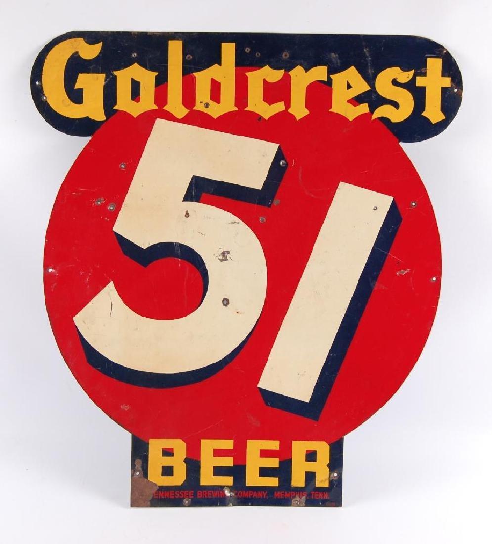 Vintage Goldcrest 51 Beer Advertising Tin Sign