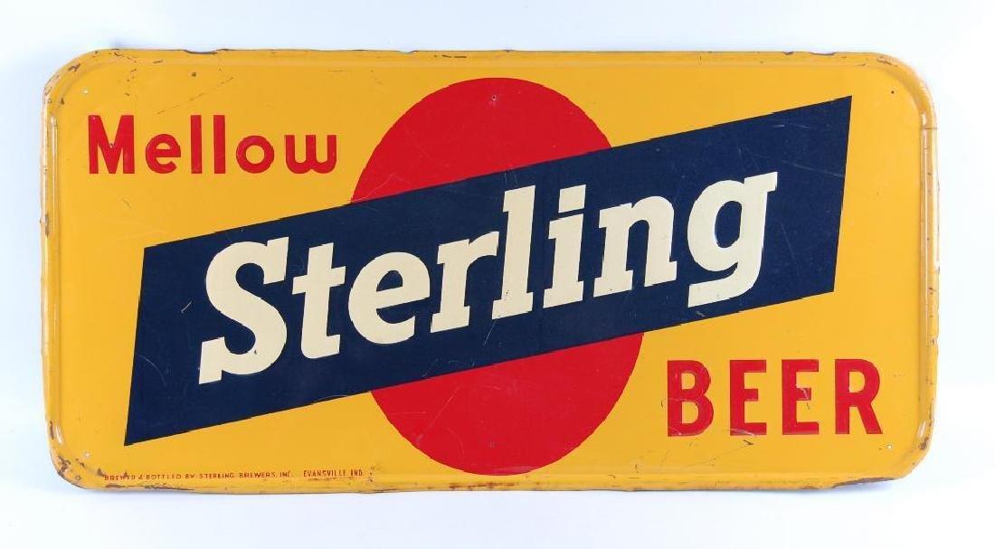 Vintage Mellow Sterling Beer Advertising Metal Sign