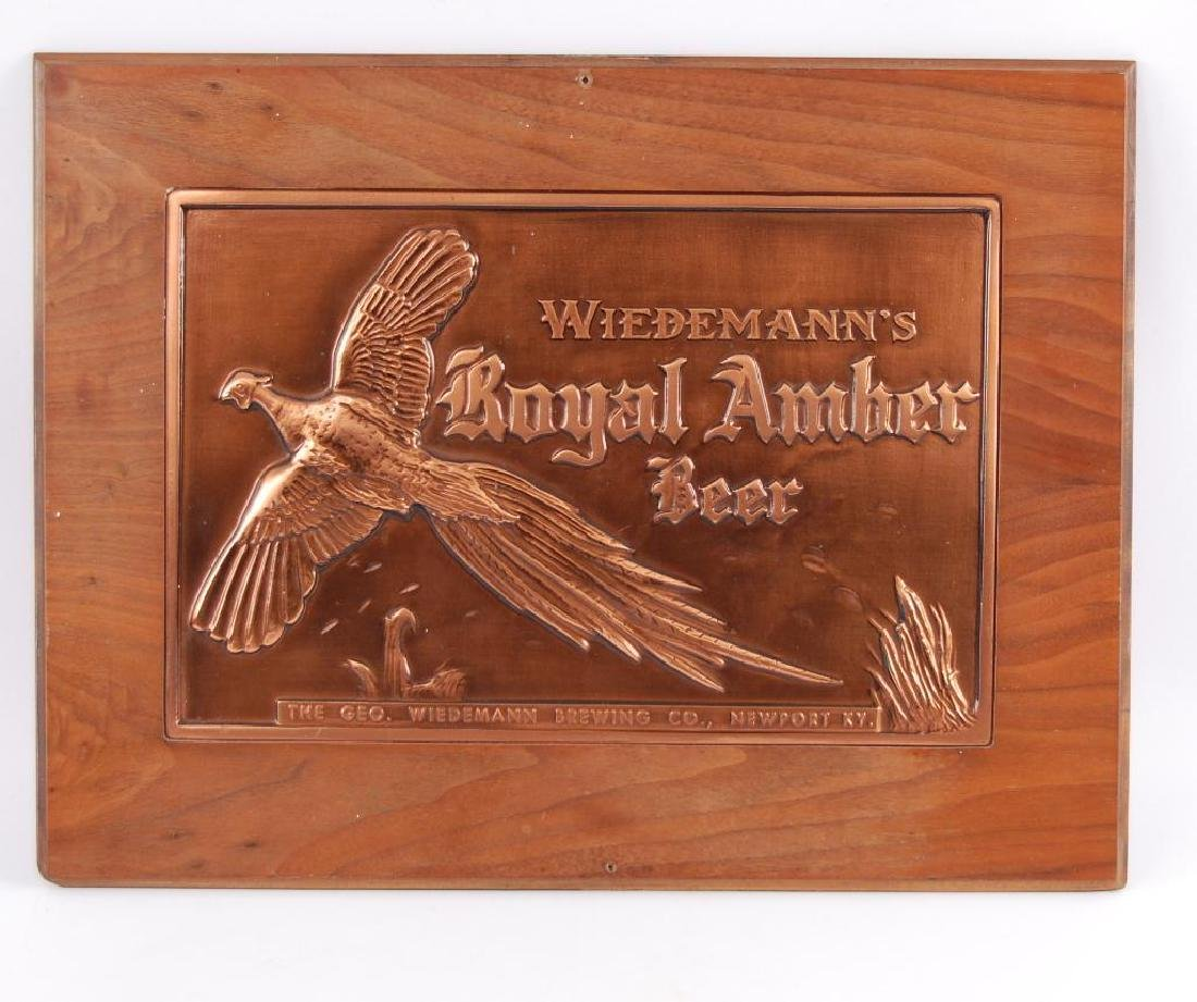 Vintage Wiedemann's Royal Amber Beer Advertising Copper