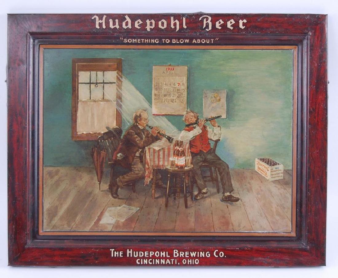 Vintage Hudepohl Beer Self Framed Advertising Metal