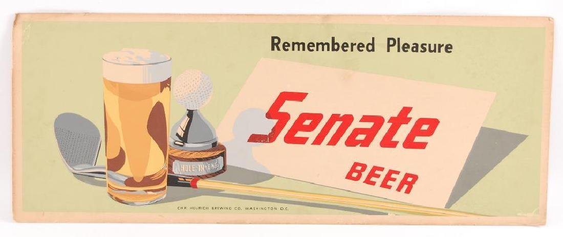 Vintage Senate Beer Cardboard Advertising Trolley Sign