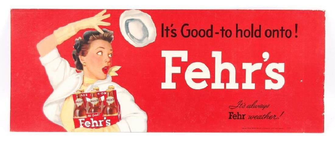 "Vintage ""It's Good-to Hold onto!"" Fehr's Beer Cardboard"