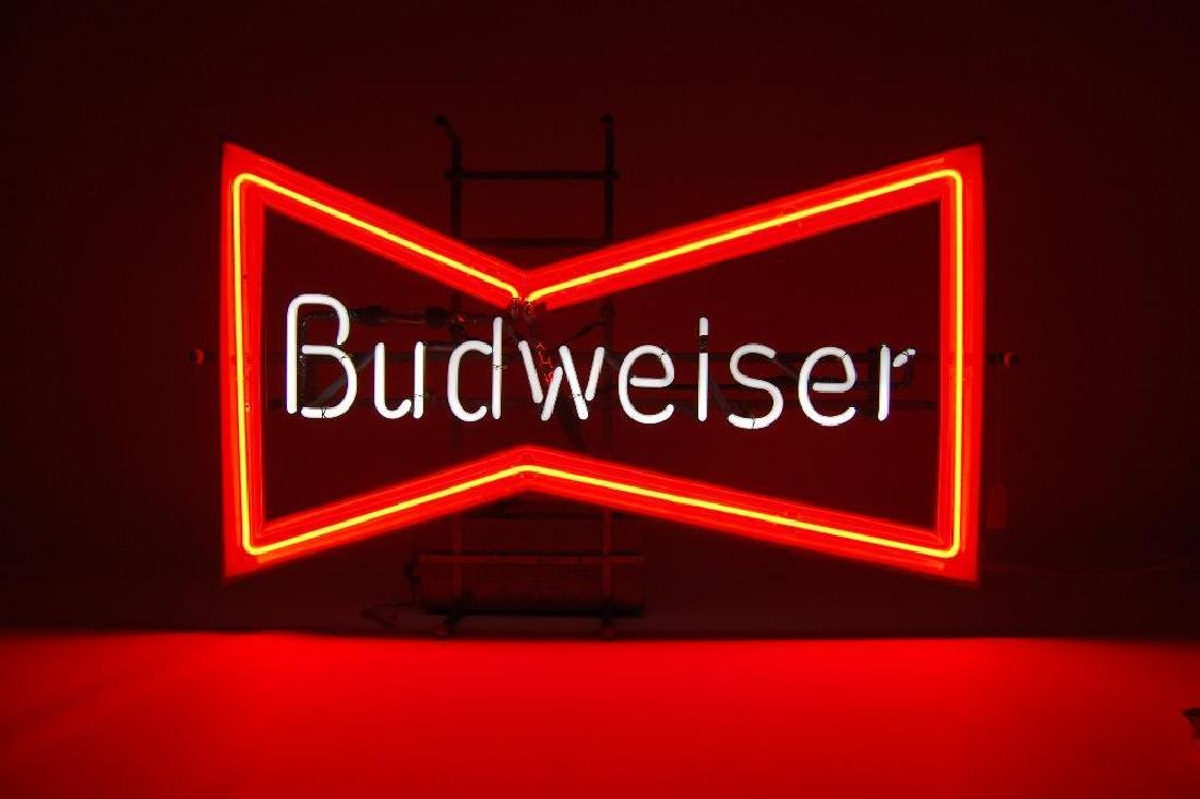 Vintage Budweiser Full Size Bow Tie Advertising Neon