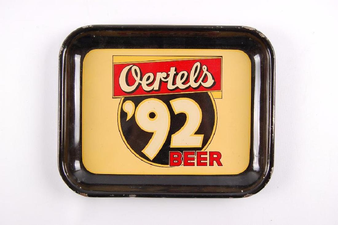 Vintage Oertel's '92 Beer Advertising Metal Beer Tray