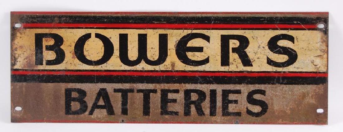 Vintage Bowers Batteries Advertising Metal Sign
