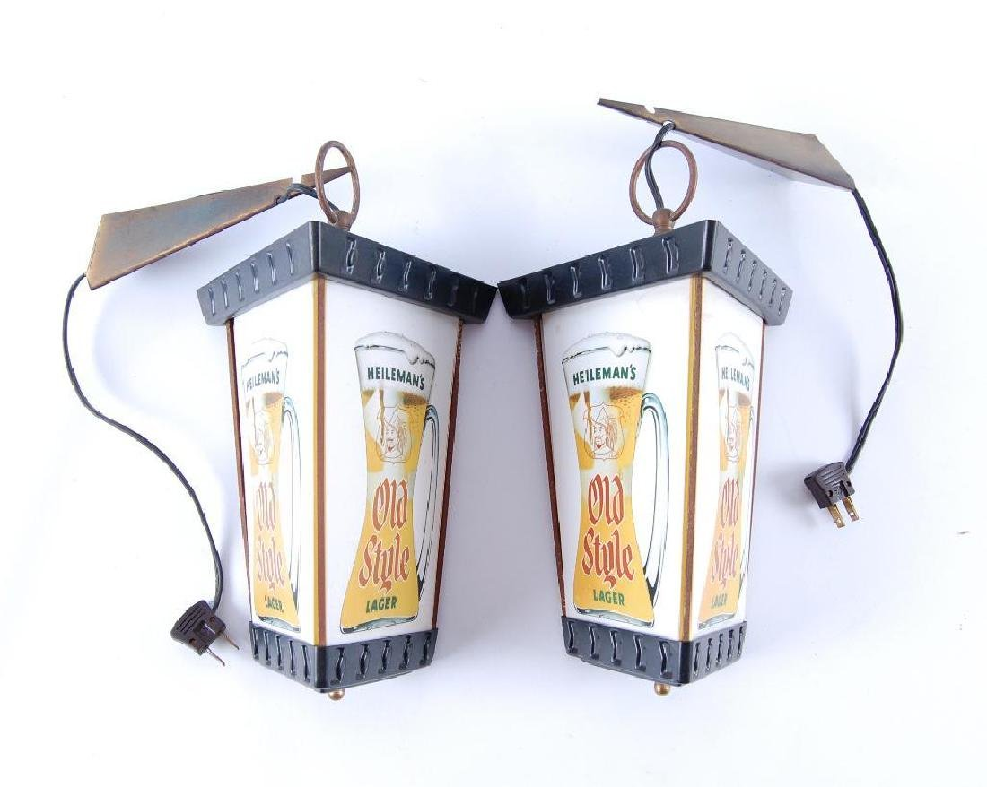 Pair of Vintage Heileman's Old Style Lager Light up