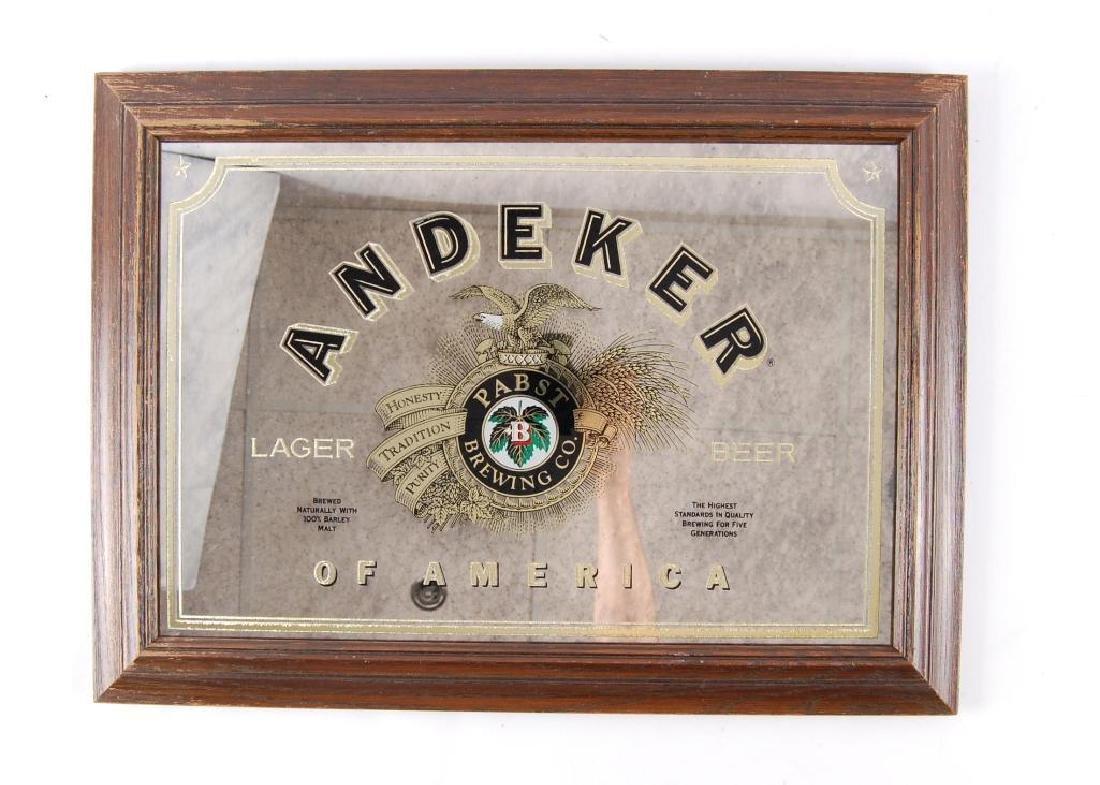 Vintage Pabst Andeker Advertising Beer Mirror