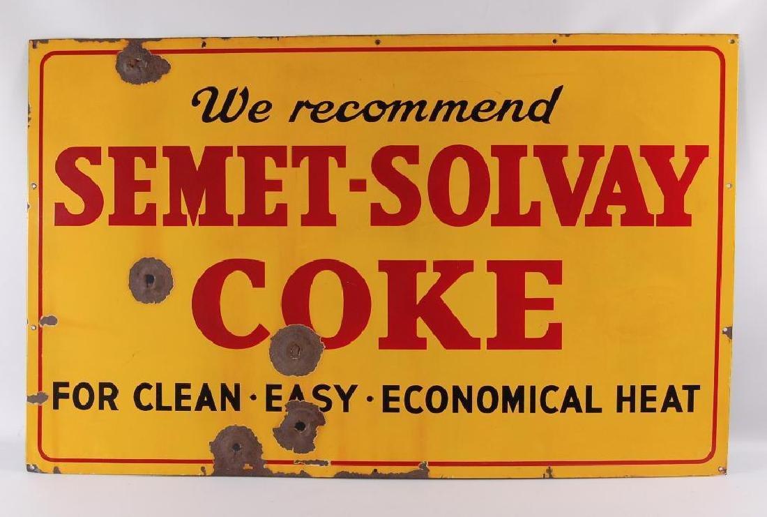 Large Vintage Semet-Solvay Coke Advertising Porcelain