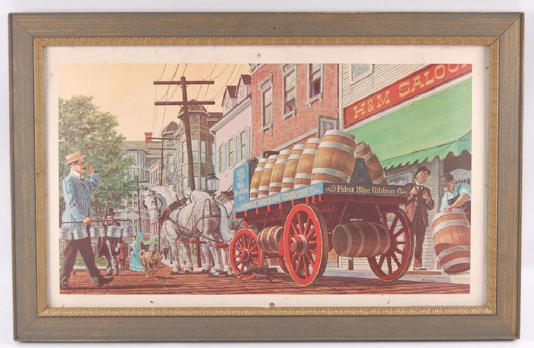 Vintage Pabst Blue Ribbon Beer Wagon Advertising Print