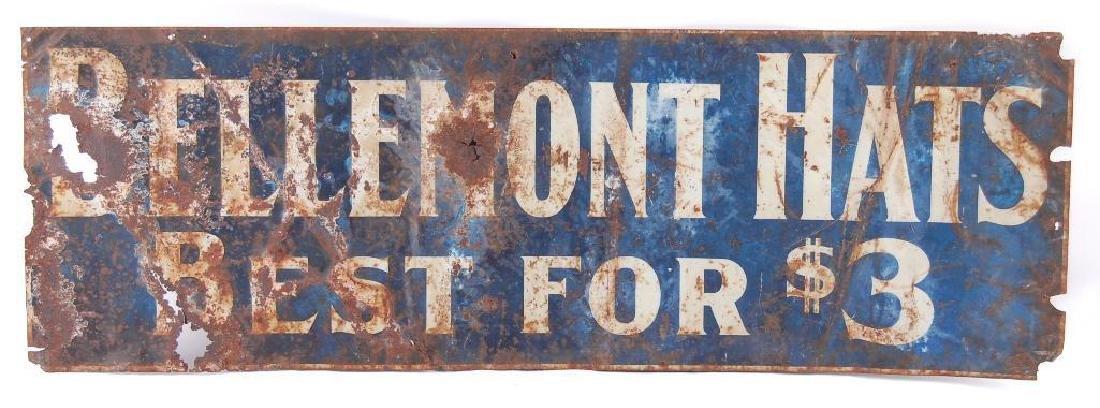 "Antique Bellemont Hats ""Best for $3"" Advertising Tin"
