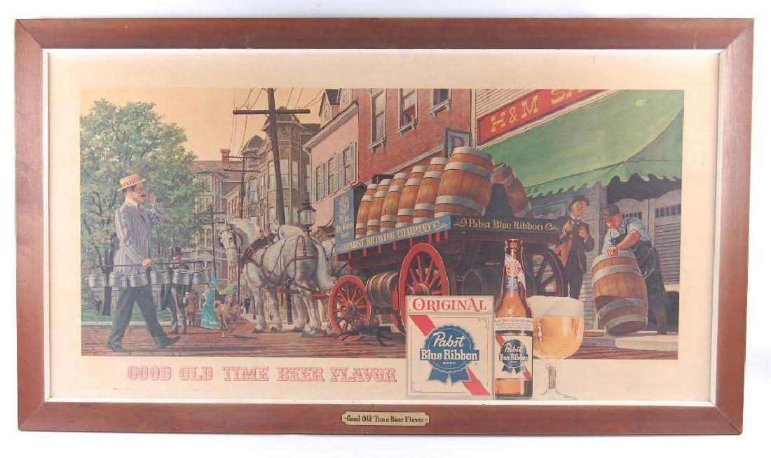 Large Vintage Pabst Blue Ribbon Beer Wagon Advertising