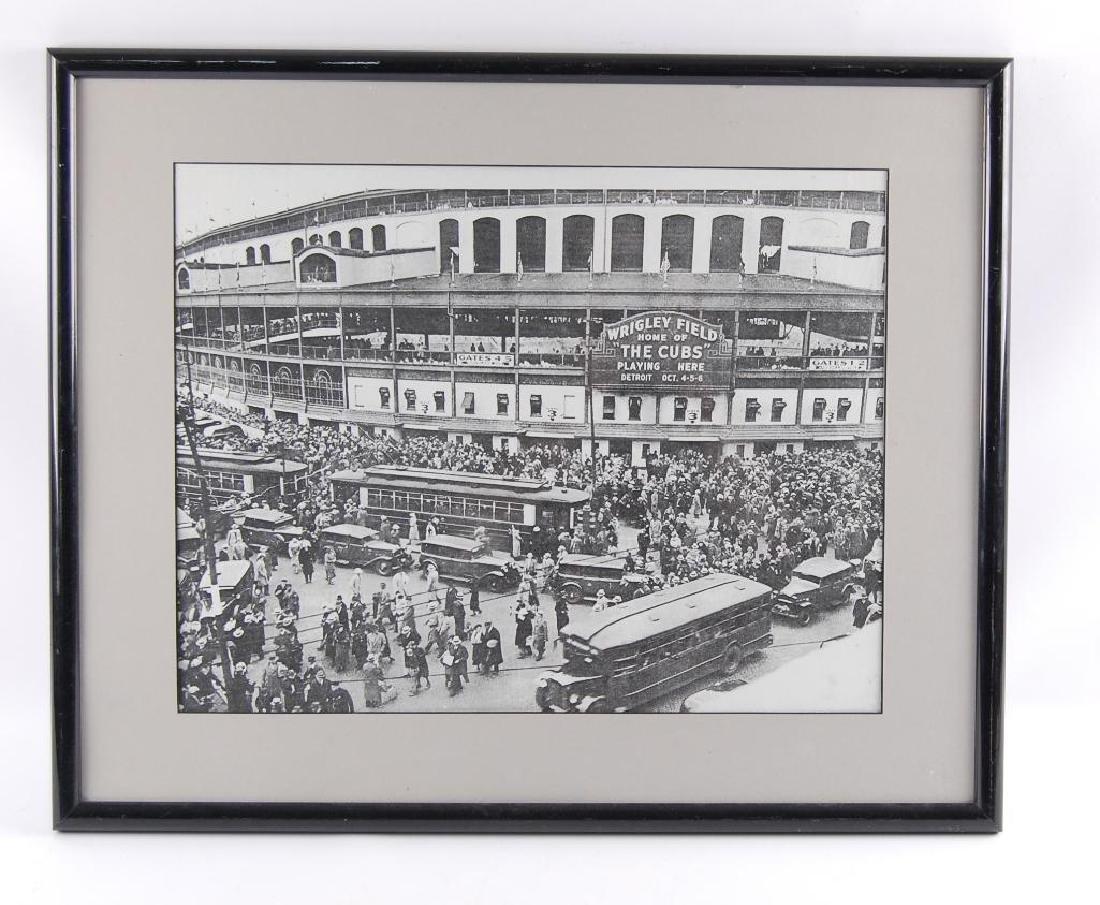 Black and White Wrigley Field Framed Print