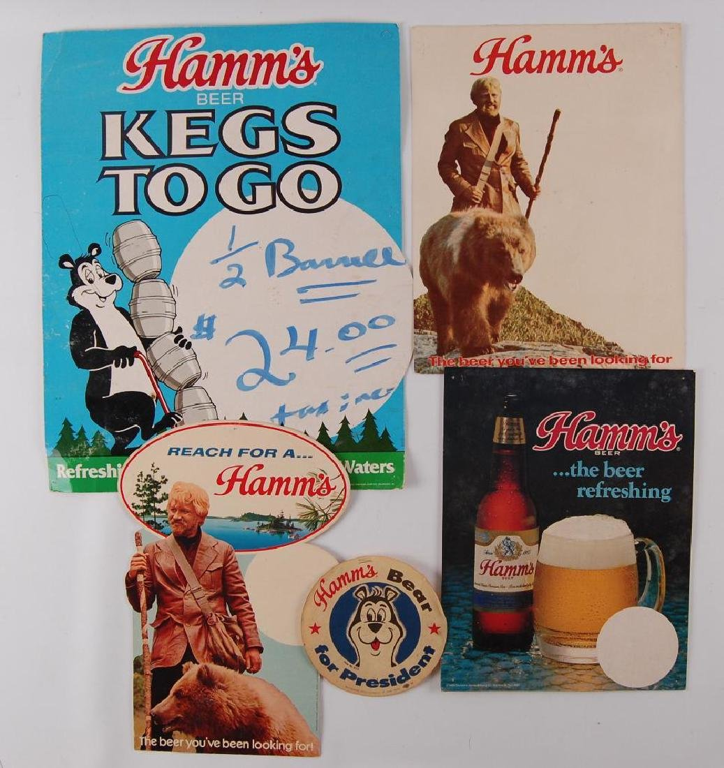 Group of 5 Vintage Hamm's Beer Advertising Signs