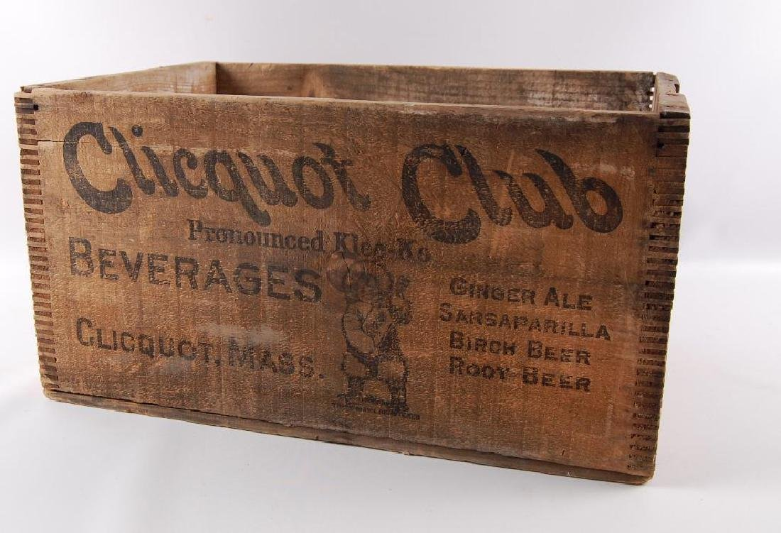 Vintage Cliquot Club Beverage Advertising Wood Crate