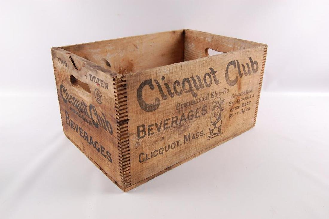 Vintage Cliquot Club Beverage Advertising Wood Crate - 2