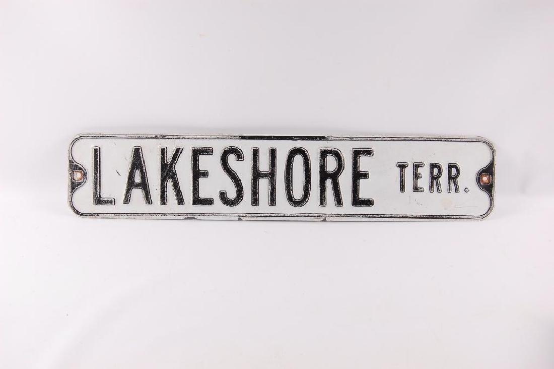Vintage Lakeshore Terrace Metal Street Sign