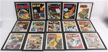 Group of 15 Batman and Detective Comics Framed Cover