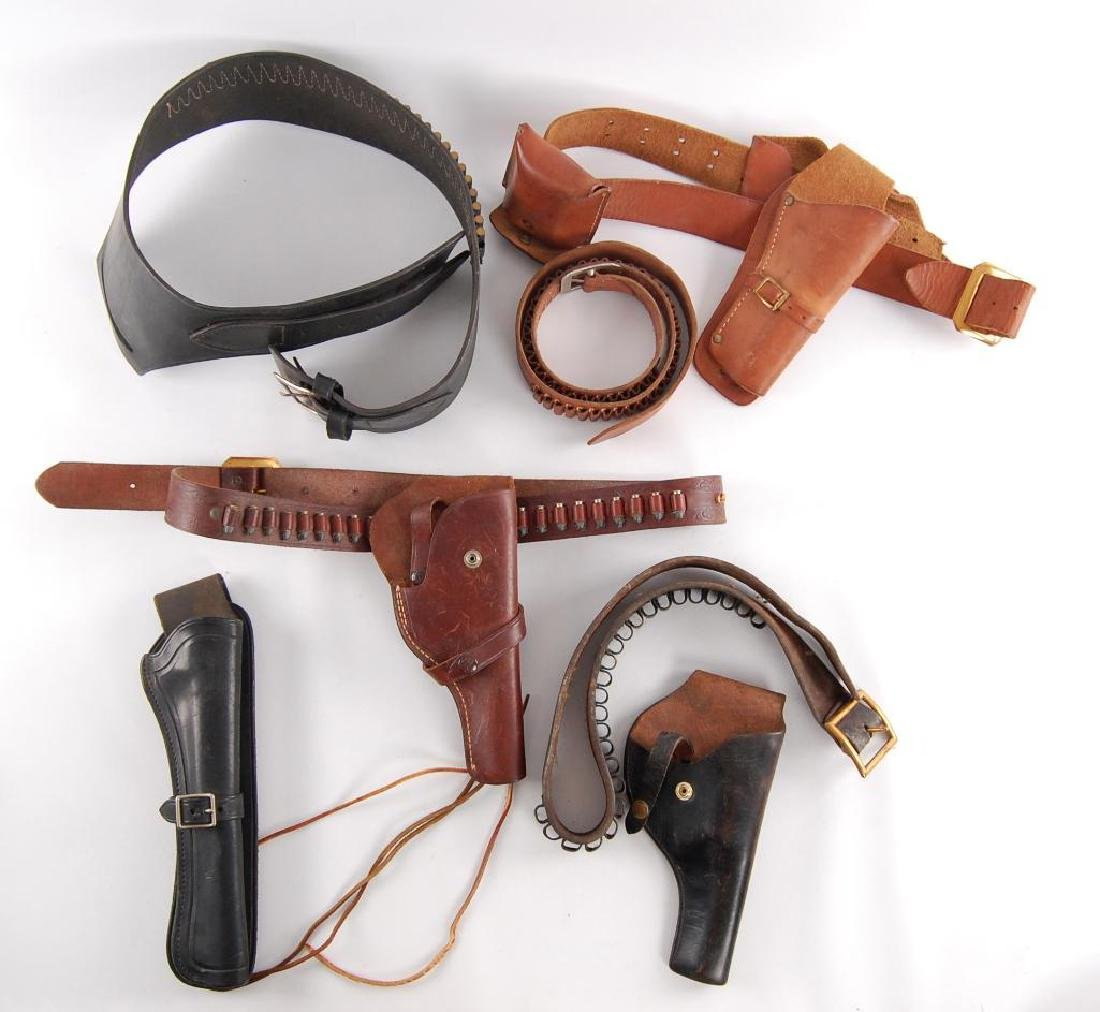 Group of 7 Vintage Leather Pistol Holsters and Belt