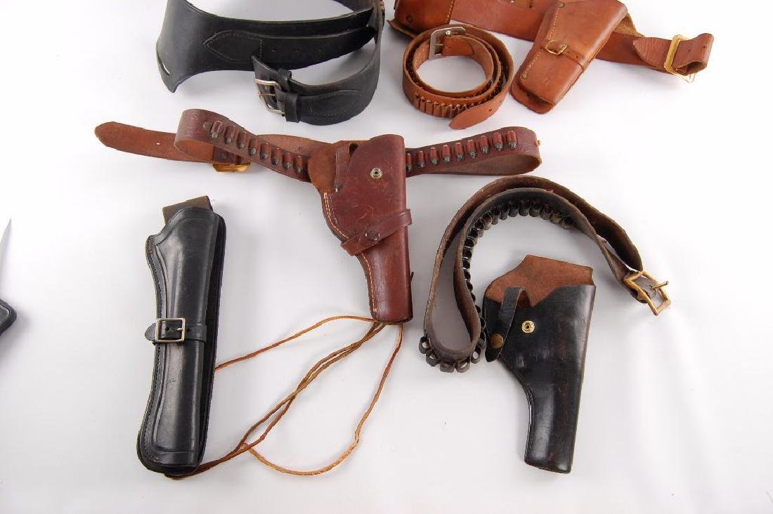 Group of 7 Vintage Leather Pistol Holsters and Belt - 3