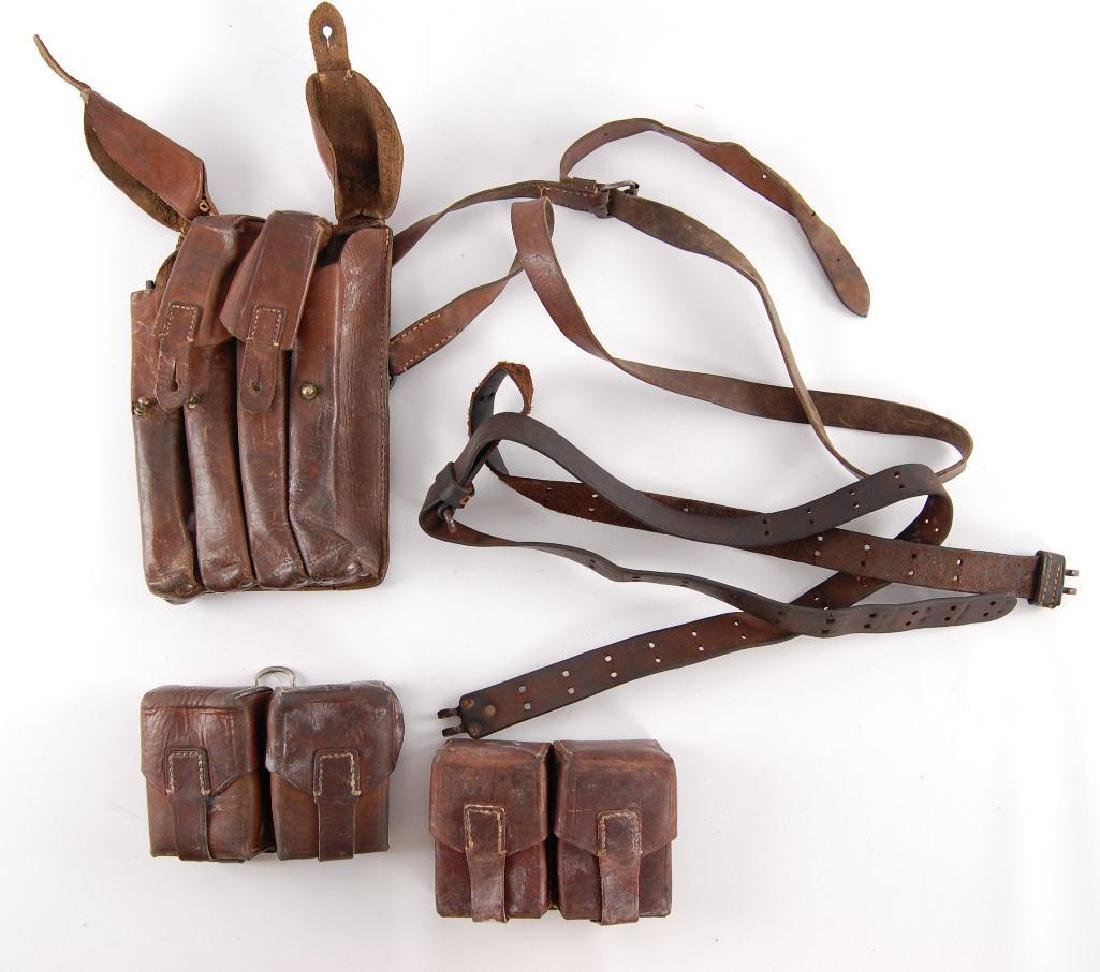 Group of Vintage Leather Ammo Pouches and Straps