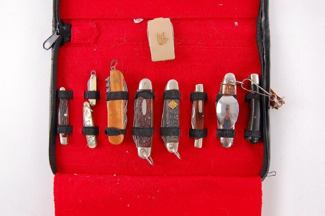 Vintage Pocket Knife Collestion with Leather Case - 2