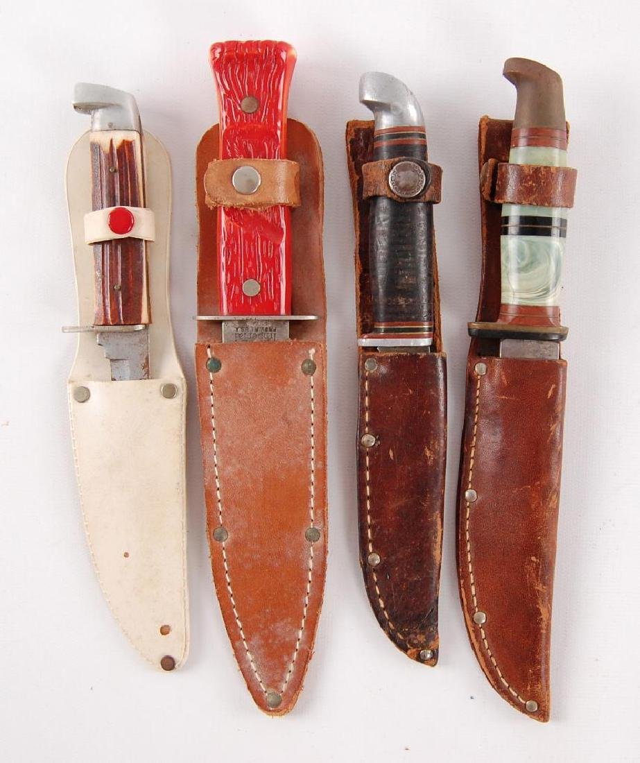 Group of 4 Vintage Knives with Sheaths