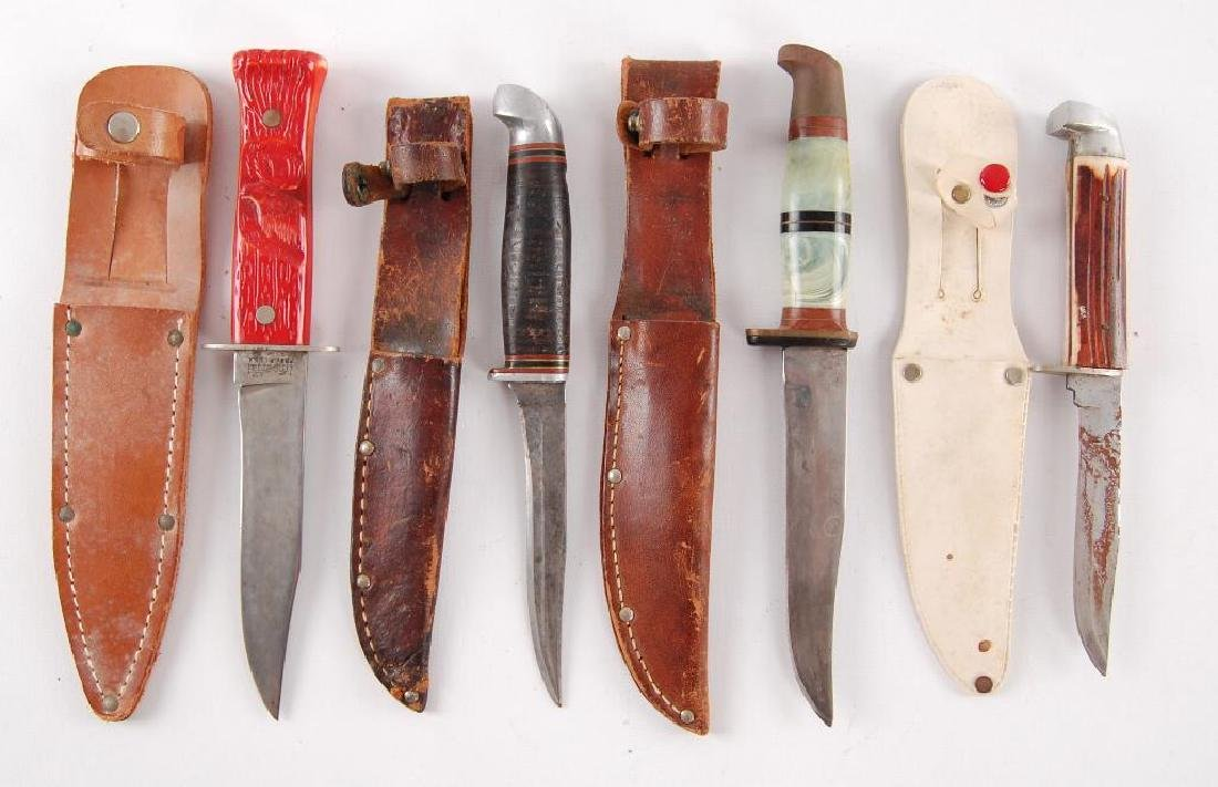 Group of 4 Vintage Knives with Sheaths - 2