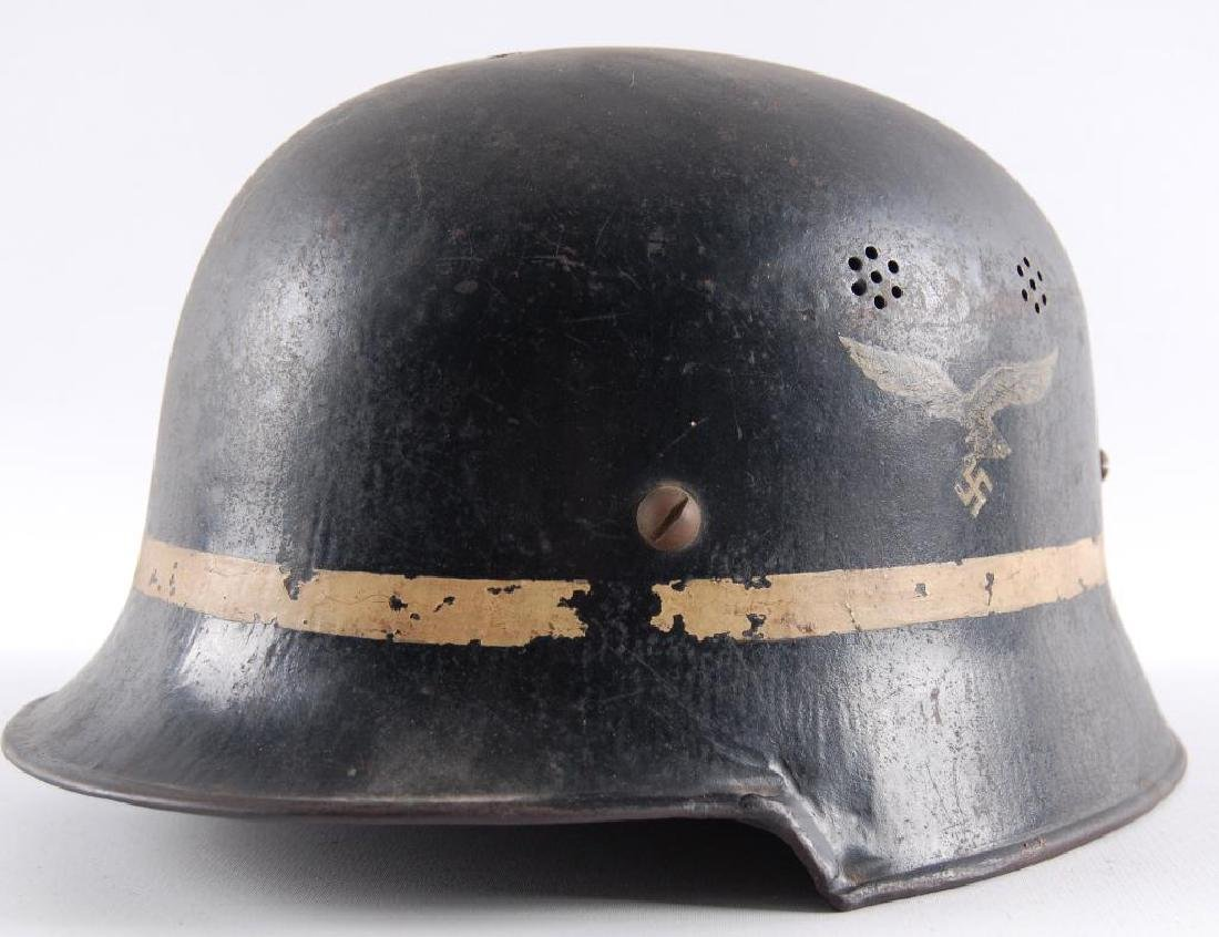 WW2 German Luftwaffe Fire Department Helmet with Decal