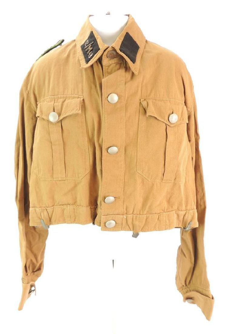 WW2 German NSSK Brown Twill Shirt with Collar Tabs,