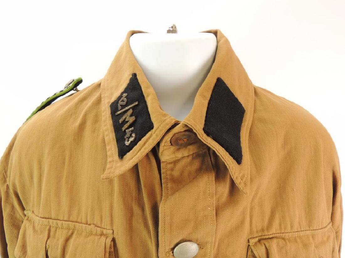 WW2 German NSSK Brown Twill Shirt with Collar Tabs, - 2