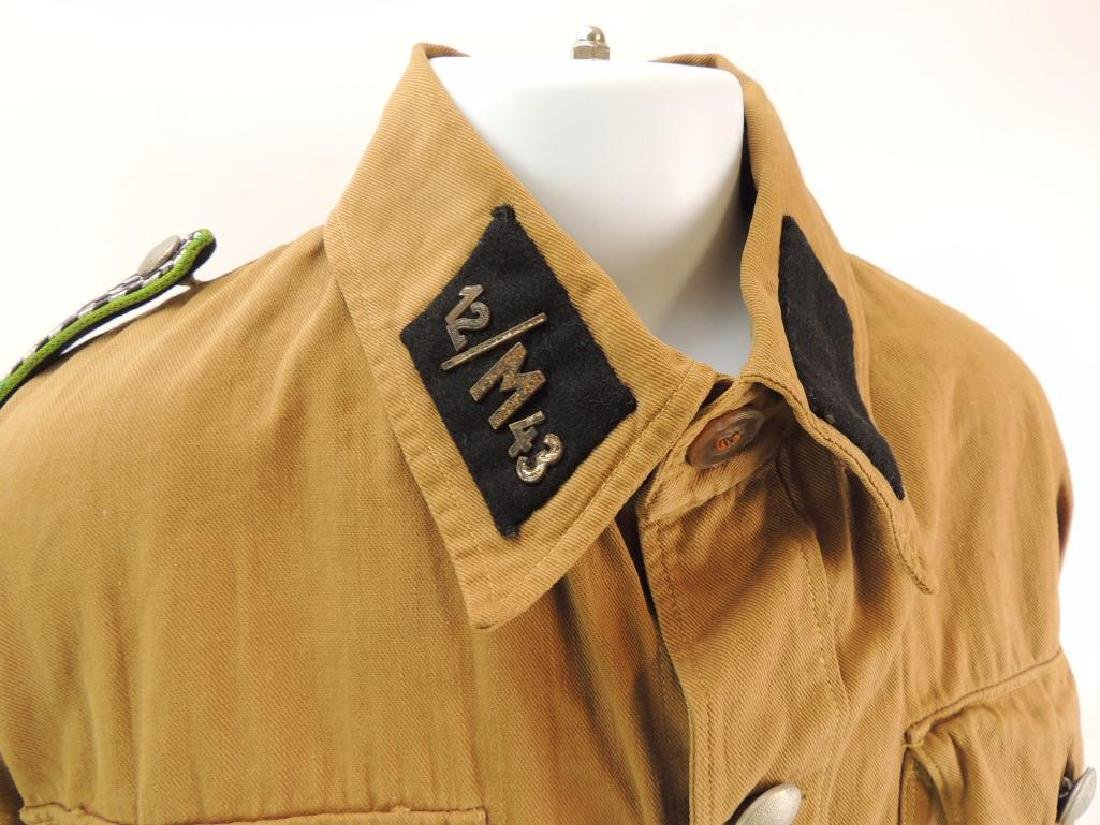 WW2 German NSSK Brown Twill Shirt with Collar Tabs, - 3