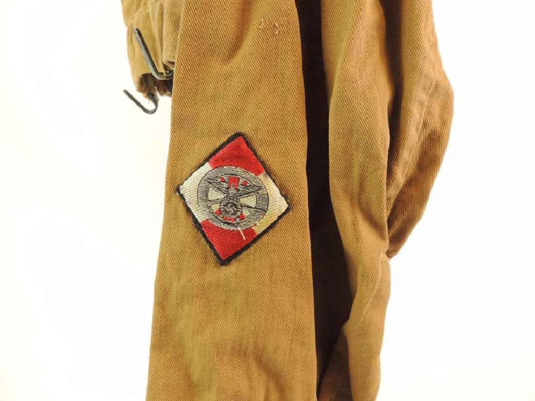 WW2 German NSSK Brown Twill Shirt with Collar Tabs, - 5