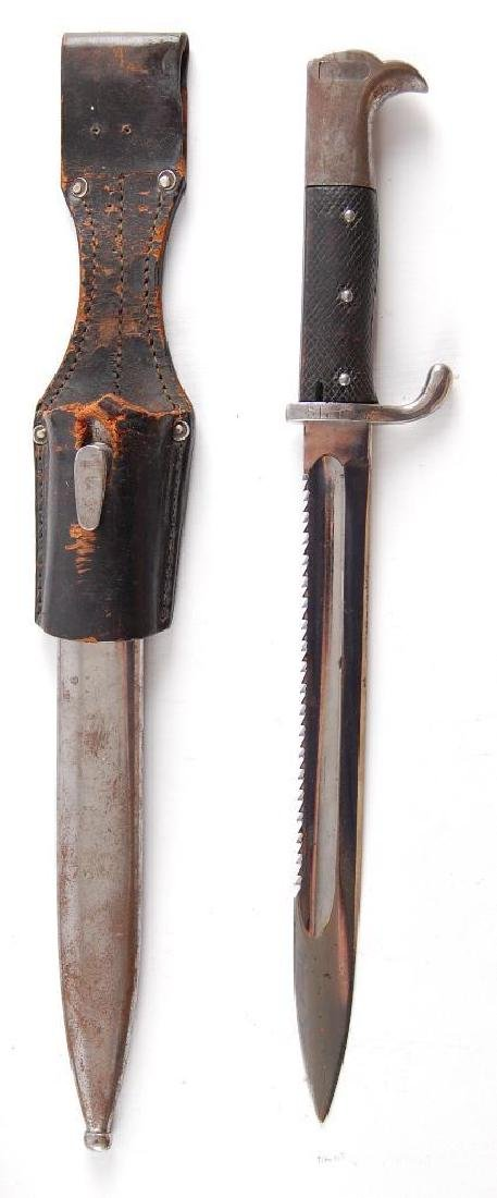 WW2 German Saw Back Bayonet with Scabbard and Frog - 5
