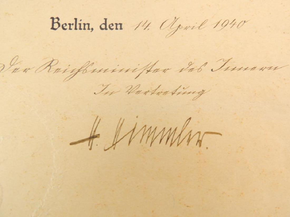 Heinrich Himmler WW2 German Signed Identified Promotion - 2